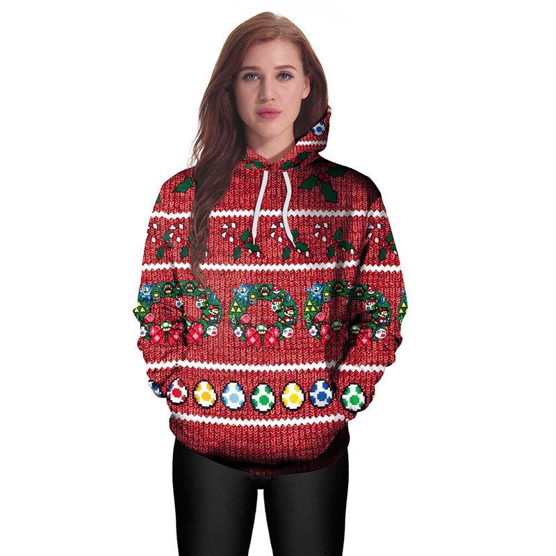 Ladies Xmas Cartoon Anime Printed Sweatshirts Full Sleeve Winter Hoodies Women Christmas Clothing