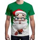 Green Xmas Santa Claus Print Men Tees Fashion Tops Christmas Men T-Shirts