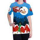 Plus Size Xmas Tops Women Santa Claus Casual Blouses Unisex Crew Neck Lady Xmas T-Shirts