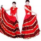 Red The Double Steps Costume Saloon Girl Spain Gypsy Carmen Costume Flamenco Dance Dress