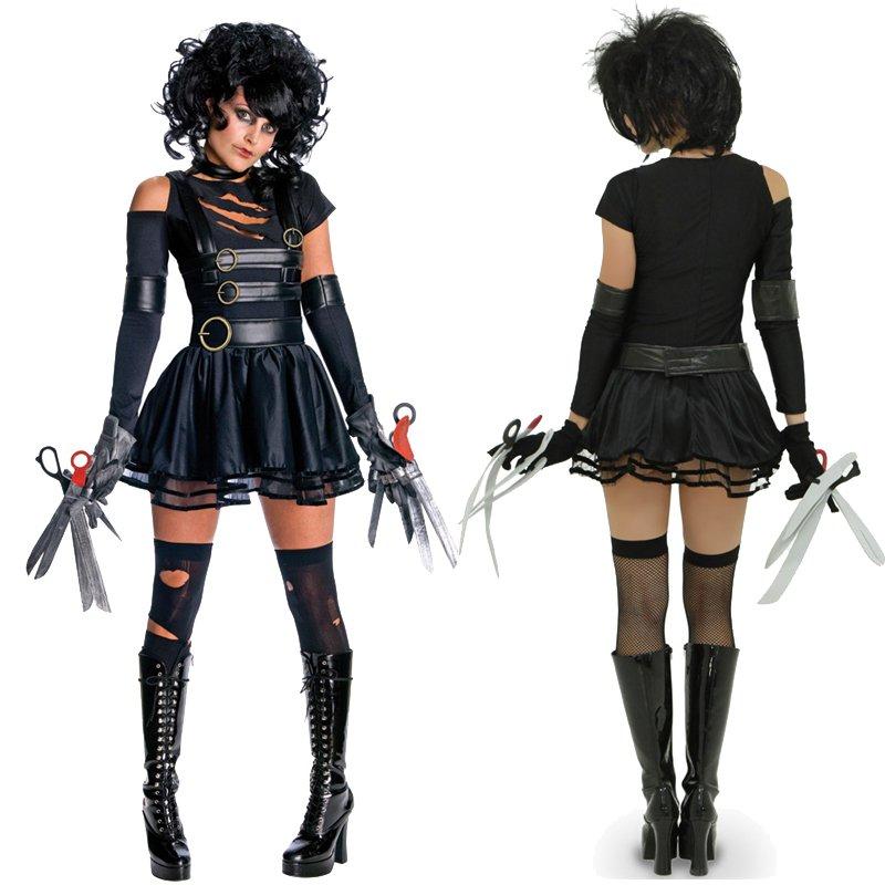 Movie Stars Role Edward Scissorhands Costume Black Faux Leather Carnival Cosplay Uniform