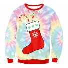 Rainbow Christmas Sock Print Winter Blouse Casual Hoodies Streetwear