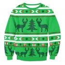 Green Reindeer Printed Winter Tops Christmas Hoodies Fashion Autumn Streetwear