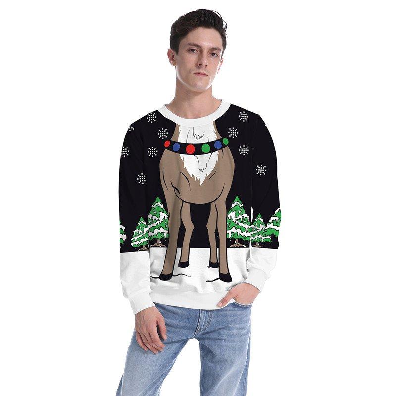 Men Christmas Reindeer Print Sweatshirts Winter Clothing Xmas Hoodies Cartoon Santa Costume