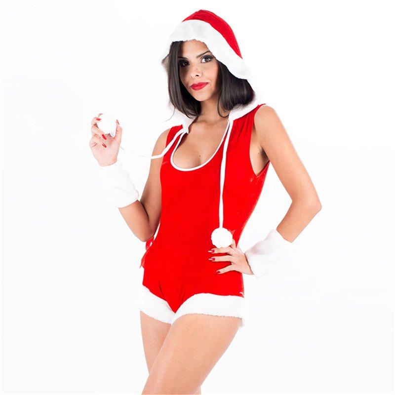 Sexy Red Velvet Christmas Bodysuit Costume Sleeveless Xmas Santa Cosplay Hoodies Uniform