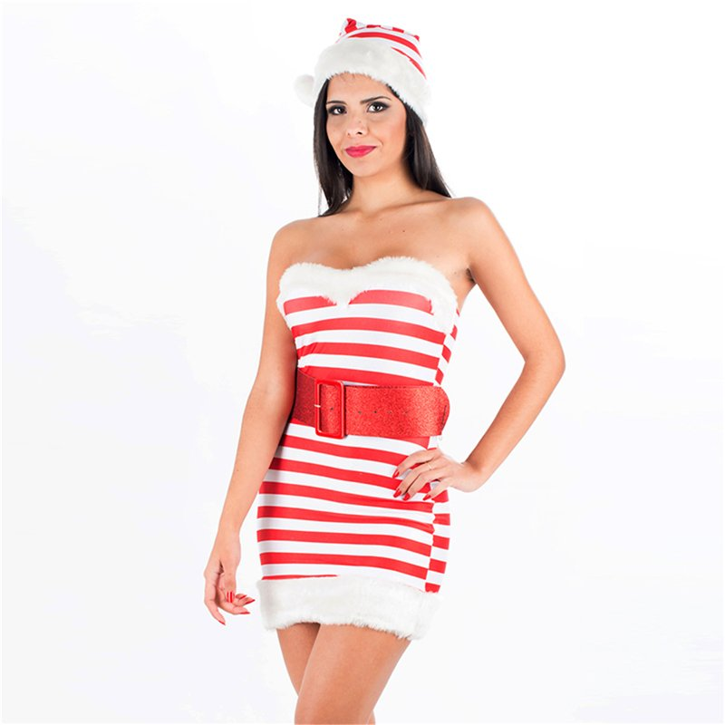 Red Stripes Christmas Candy Girl Dress with Hat Off Shoulder Xmas Fancy Dress Carnival Clothing
