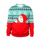 Blue Merry Christmas Snowman Hoodies Fashion O-neck Streetwear Happy New Year Xmas T-shirt