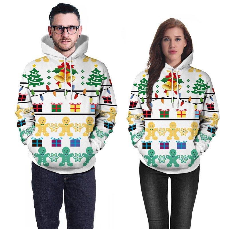 Xmas Gift Printing Couples Hoodies Novelty Tops Winter Pullover Christmas Sweatshirts Costumes