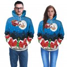 Blue Christmas Costume Santa Claus Print Couples Hoodies Autumn Fashion Sweatshirts with Hat