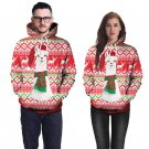 Christmas Alpaca Print Couples Sweatshirts Autumn Pink Xmas Plus Size Hoodies with Hat