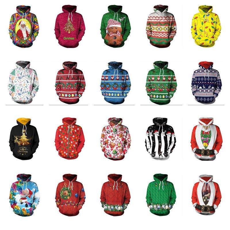 Plus Size Women Christmas Sweatshirts Unisex Santa Digital Printing Sportswear Xmas Hoodies