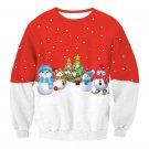 Contrast Color Snowman Printing T-shirt Fashion Sweatshirts Ladies Christmas Winter Tops
