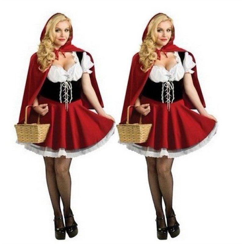Plus Size 2XL-6XL Little Red Riding Hood Costume for Women Halloween Cosplay Fancy Dress