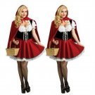 Plus Size 2XL-6XL Little Red Riding Hood Costume for Women Halloween Cosplay Fancy Dress