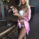 Pink Satin Gloss Nightshirts Sexy Lingerie Lace Trim Short Robes with Belt Valentine Night Gowns