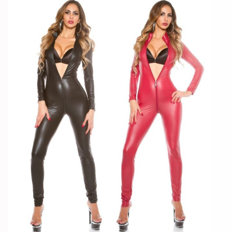 Plus Size 2XL 3XL Patent Leather Sexy Catsuit Crotch Zipper Bodysuit Catwoman Large Size Jumpsuit