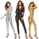 Shiny Faux Leather Women Jumpsuits Rompers Hole PVC Night Club Pole Dance Clothing