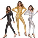 PVC Erotic Night Club Jumpsuit Hollow Out Pole Dance Costume Sexy Faux Leather Hole Catsuit