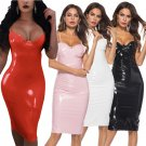 Large Size Wetlook PU Street Dresses Super Size Gothic Latex Midi Dress Women Erotic Night Clubwear