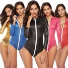 Sexy Faux Leather Super Size Motorcycle Girl Uniform Plus Size PVC Nightclub Cosplay Jumpsuit