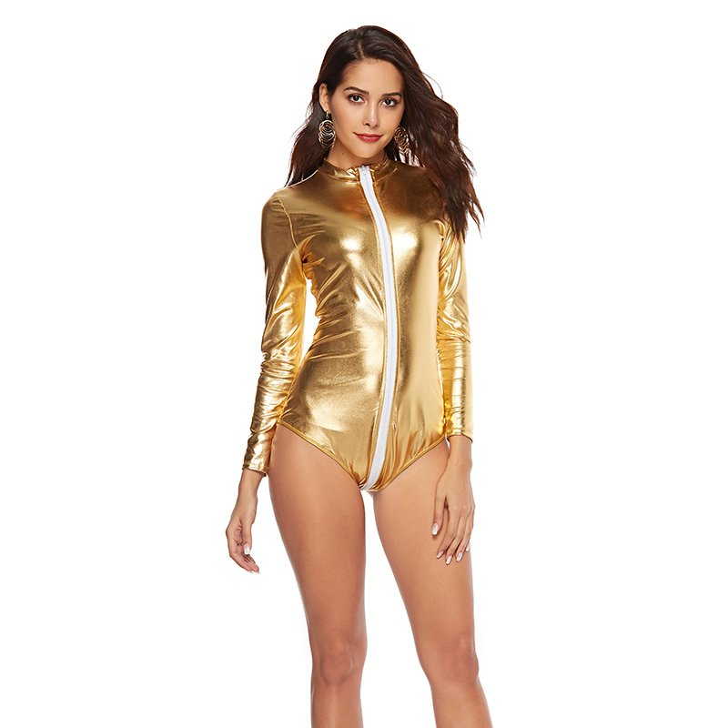 Gold Fetish Faux Leather Jumpsuit Erotic Nightclub Dance Uniform Sexy Pole Dance Costume