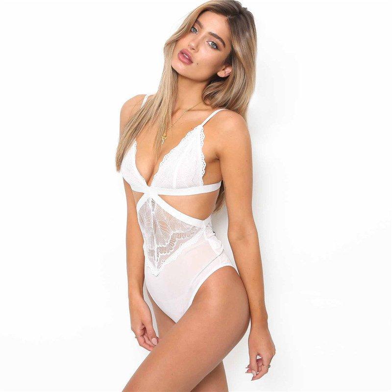 White Sexy Teddies Costumes Plus Size Women Valentine Lace Bodysuits Lingerie Erotic Underwear