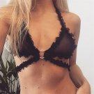 Black Valentine Bras Erotic Ruffle Trim Super Size 2XL Sexy Lingerie