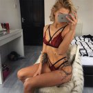 Wine Red Big Size Sexy Bandage Bikini Lingerie with Briefs Plus Size Lace Harness Bras Sets