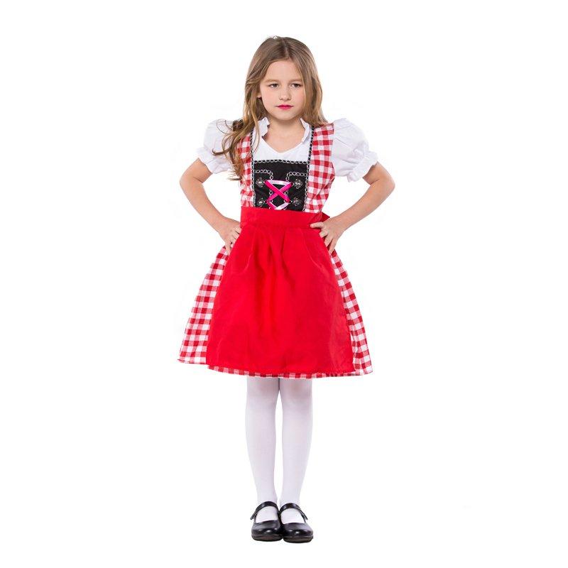 German Beer Girl Costume Children Mardi Gras Uniform Carnival Kid Bavarian Maid Costumes