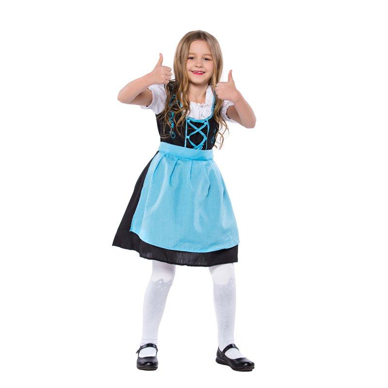 Blue Mardi Gras Kid Bavarian Beer Girl Maid Costumes Children German Oktoberfest Fancy Dresses