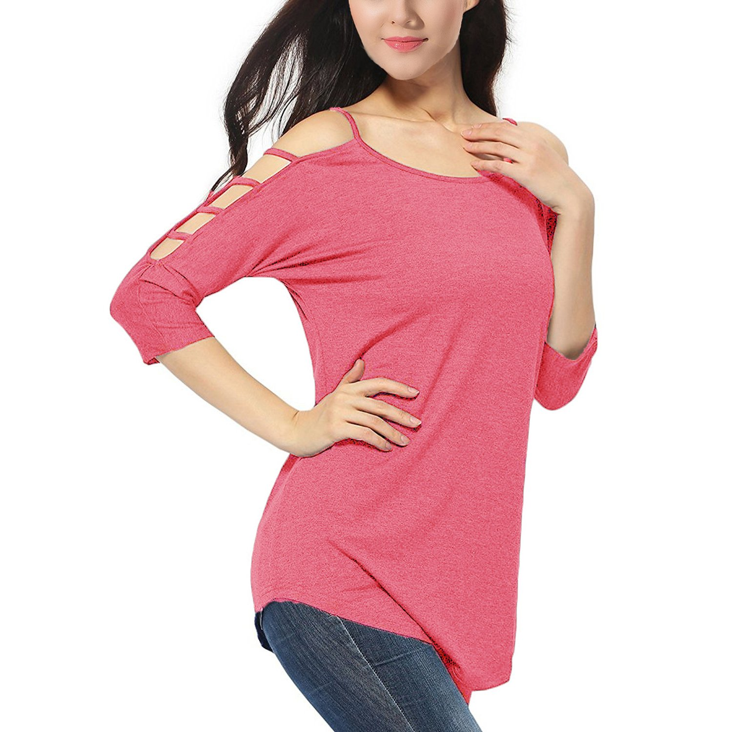 Pink Women's Casual Loose Hollowed Out Shoulder Three Quarter Sleeve Shirts
