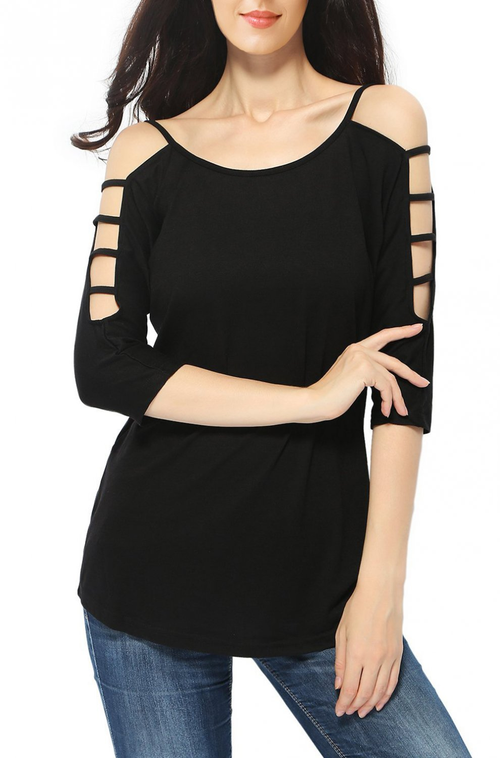 Black Women's Casual Loose Hollowed Out Shoulder Three Quarter Sleeve Shirts