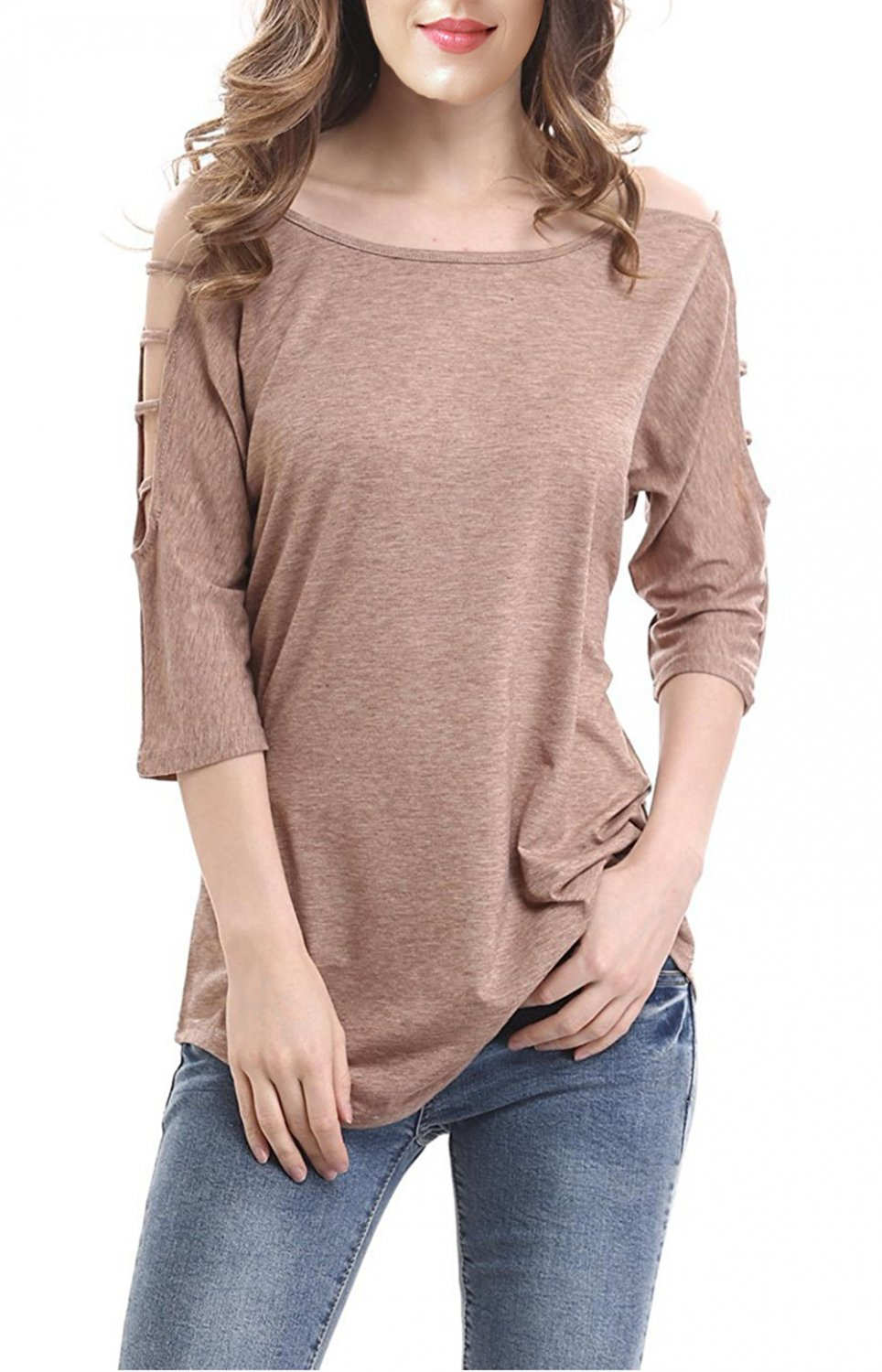 Khaki Women's Casual Loose Hollowed Out Shoulder Three Quarter Sleeve Shirts