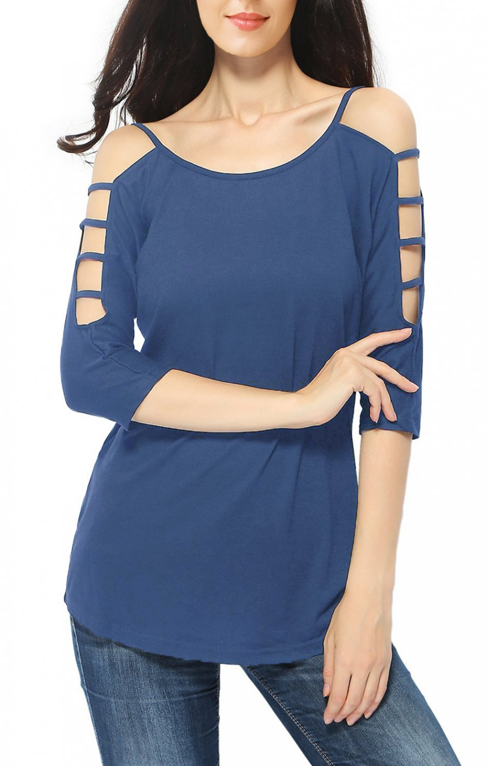 Blue Women's Casual Loose Hollowed Out Shoulder Three Quarter Sleeve Shirts Plus Size XXL Blouse