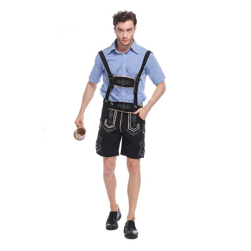 Blue Male Bavarian Beer Uniform Mardi Gras Men Oktoberfest Costume with Overalls