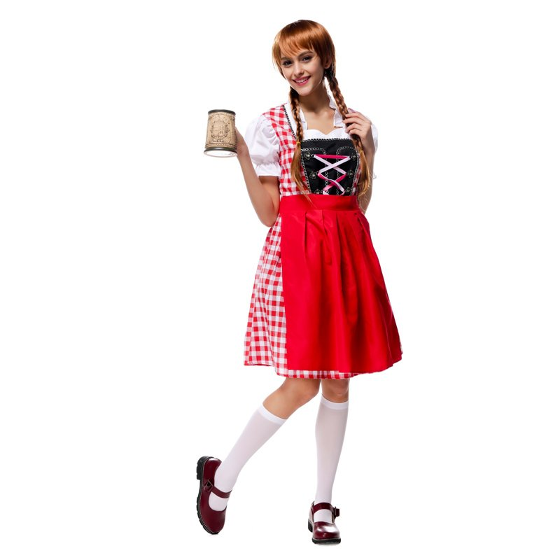 Women German Beer Bavarian Costume Sexy National Traditional Carnival Oktoberfest Maid Dress