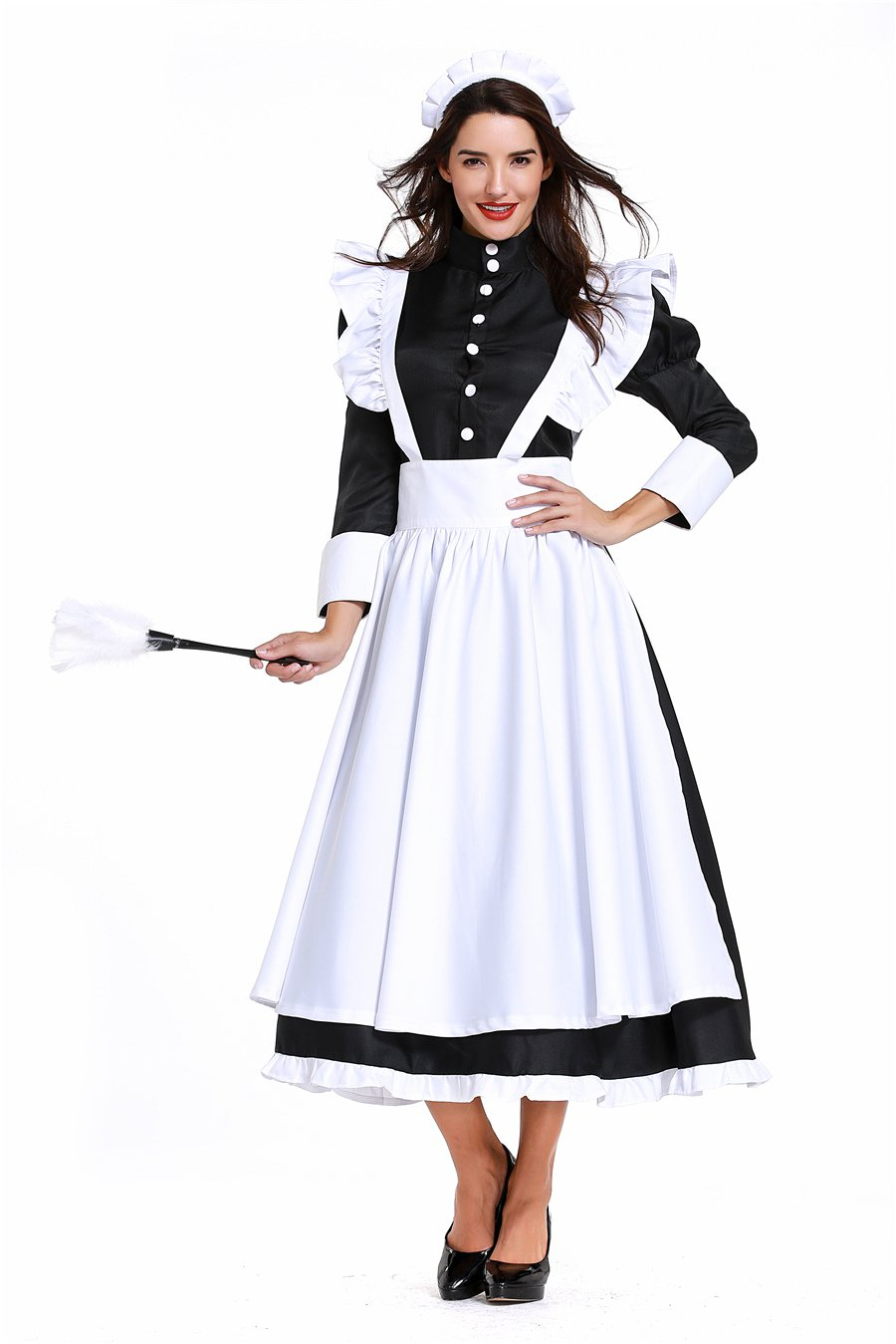 White Carnival German Maid Cosplay Fancy Dress England Cook Costume Traditional Housekeeper Uniform