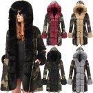 Plus Size Winter Trench Coats Fur Hooded Women's Dust Coat Women's Three-quarter Coat