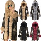 4 Colors Warm Women's Camouflage Fur Jacket Long Faux Fur Collar Winter Hooded Coat