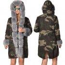Plus Size Women's Windbreaker Fashion Outerwear Faux Fur Hooded Winter Jacket Camouflage Coat