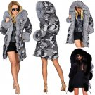 Women's Fur Camouflage Coat Large Size Fashion Outerwear Long Faux Fur Hooded Winter Jacket