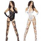 White Fetish Female Erotic Lace Bodysuit Sexy Valentine Underwear with Legwear