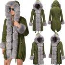 Women Winter Streetwear Three-quarter Coat Winter Long Faux Fur Hooded Dust Coat