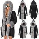 Black Winter Women's Trench Coats Three-quarter Coat Faux Fur Collar Outerwear