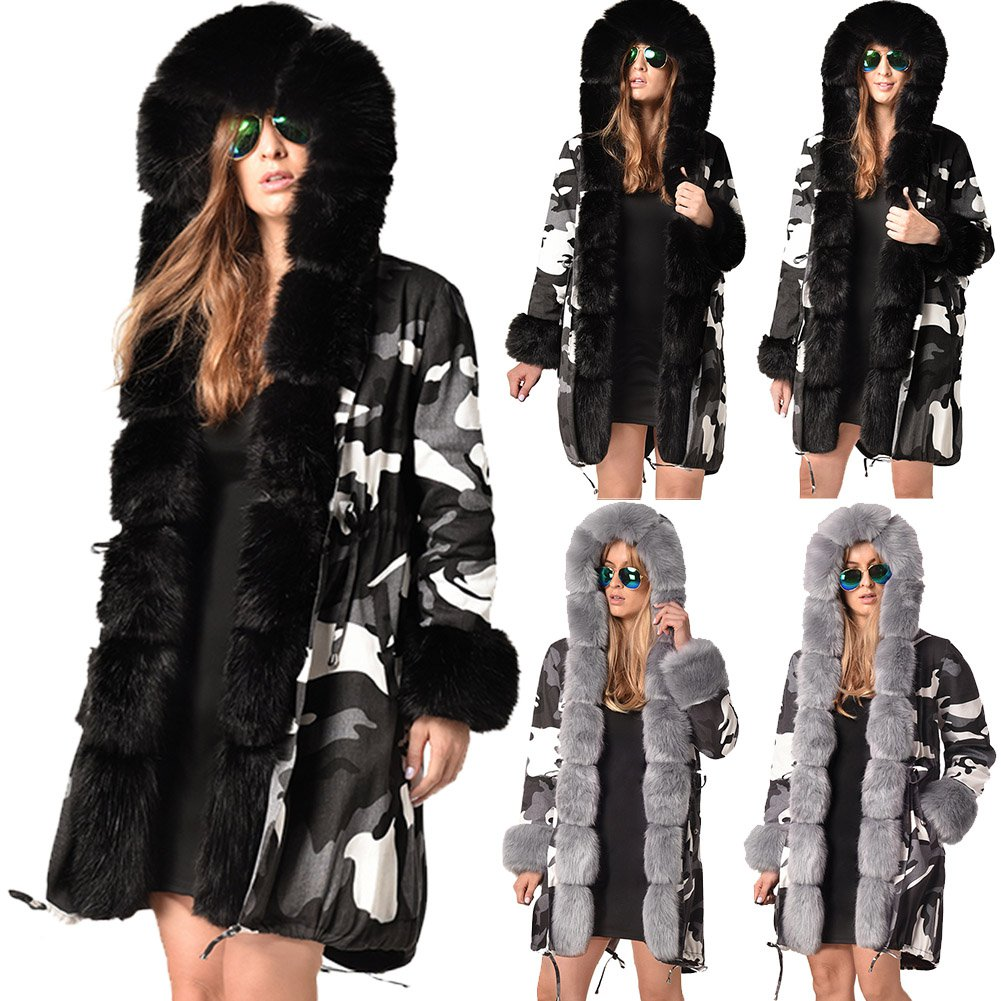 England Winter Trench Coats Fashion Three-quarter Coat Faux Fur Collar Hooded Camouflage Outerwear
