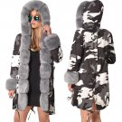Winter Women Trench Coats Three-quarter Coat Hooded Camouflage Faux Fur Dust Coat