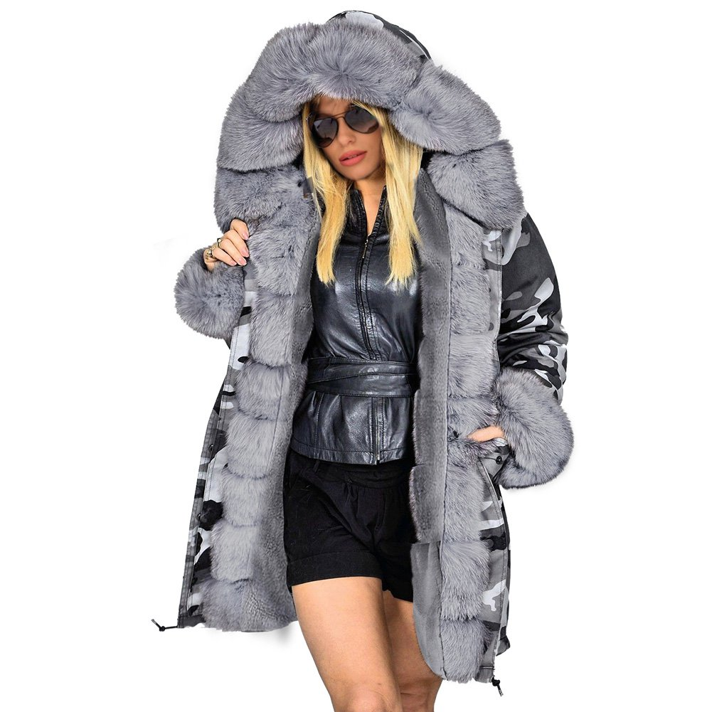 Winter Dust Coat Long Faux Fur Collar Hooded Camouflage Jacket Women's Three-quarter Coat