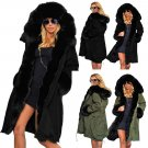 Thick Winter Parka Women Trench Coats Plus Size Three-quarter Coat Faux Fur Collar Streetwear