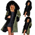 Army Green Thick Winter Parka Women Trench Coats Plus Size Faux Fur Collar Streetwear