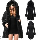 Women Parka Three-quarter Coat Faux Fur Collar Hooded Winter Fur Long Female Jacket